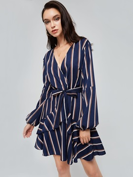 V Neck Striped Tiered Women's Day Dress