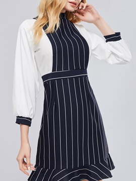 Striped Patchwork Women's Day Dress