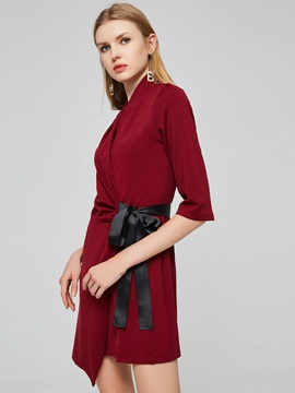 Burgundy Lace up Women's Day Dress