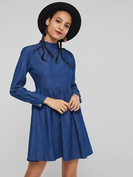 Stand Collar Elegant Women's Long Sleeve Dress