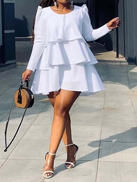 Above Knee Round Neck Long Sleeve Pullover Layered Dress Women's Dress