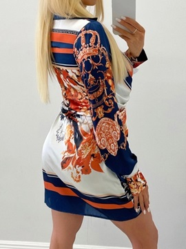 Above Knee Long Sleeve Print Bodycon Floral Women's Dress