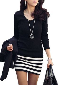 Long Sleeve Stripe Patchwork Women's Bodycon Dress