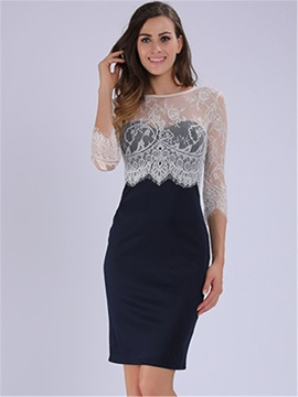 New Half Sleeve Lace Patchwork Bodycon Dress