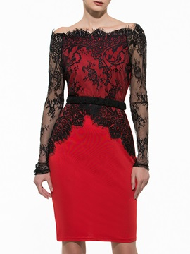 New Lace Decoration Bodycon Dress