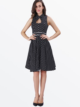 Polka Dots Sleeveless Long Dress