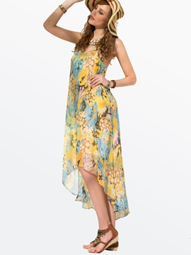 Clocolor® Floral-Print Spaghetti-Strap High-Low Bohemia Dress