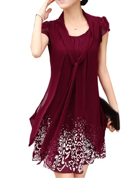 Print Cap-Sleeve Frill Women's Shift Dress