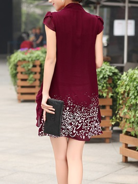 Printing Cap-Sleeve Frill Shift Dress