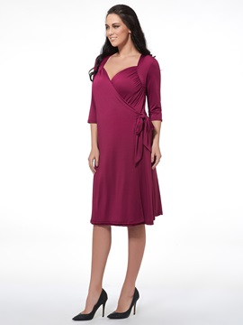Solid Color Half Sleeve Day Dress