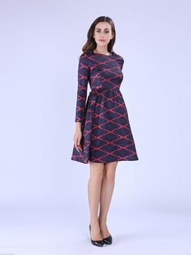 Contrast Color Long Sleeve Print Day Dress