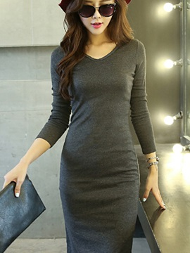 Solid V Long Sleeve Day Dress