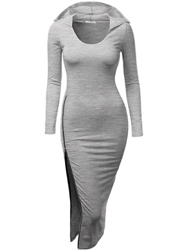Solid Color Long Sleeve Hooded Day Dress