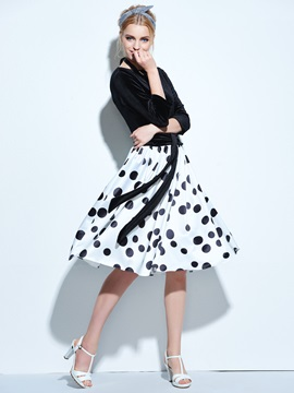 Backless Polka Dots 3/4 Sleeve Women's Skater Dress