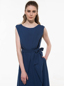 Solid Color Sleeveless Belt Slim Day Dress