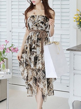 Chic Off-the-Shoulder Print Day Dress