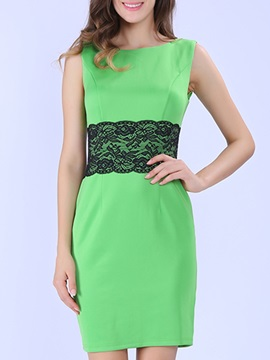 Contrast Lace Patchwork Sleeveless Day Dress