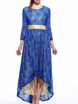 High-Low Belt Lace Dress