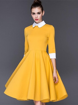 Peter Pan Collar 3/4 Sleeve Women's Skater Dress
