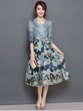 V-neck print organza date dress