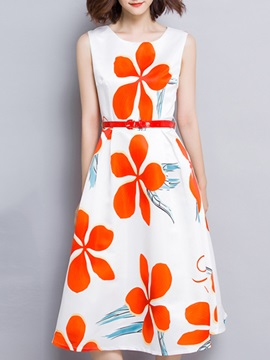 Floral Print Sleeveless Round Neck Skater Dress