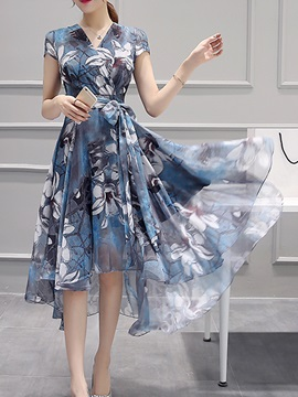Asymmetric Floral Print Short Sleeve Day Dress