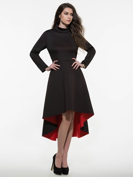 Chic High-Low Turtleneck Day Dress