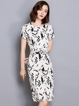 Chic Round Neck Belt Print Day Dress