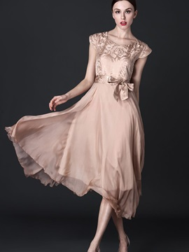 Solid Color Short Sleeve Patchwork Bowknot Day Dress