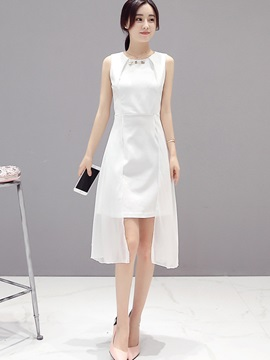Solid Color High-Low Patchwork Day Dress
