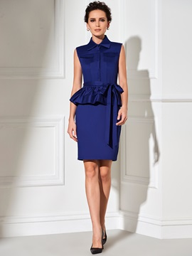 Plain Two in One Falbala Work Dress
