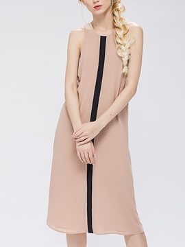 Sisjuly Contrast Color Sleeveless Day Dress