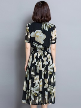 Floral Print Chic V-Neck Button Day Dress