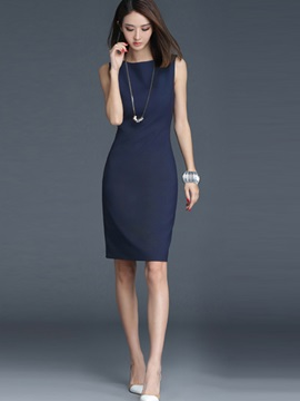 Solid Color Slash Neck Sleeveless Day Dress