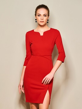 Plain Short Sleeve Split Work Dress