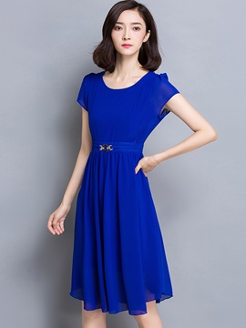 Chic Solid Color Short Sleeve Day Dress