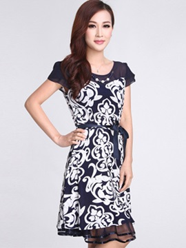 Floral Print Round Neck Short Sleeve Day Dress