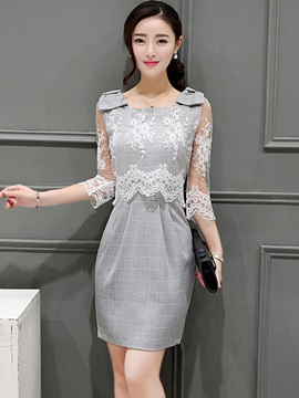 Embroidery Bowkno 3/4 Sleeve Patchwork Day Dress