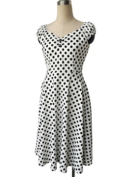 Polka Dots Short Sleeve Vintage Day Dress