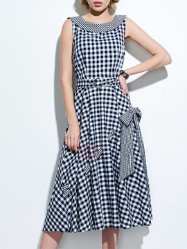 Peter Pan Collar Plaid Bowknot Belt Day Dress