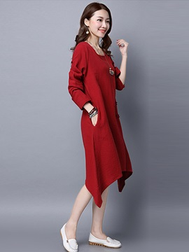 Solid Color U-Neck Long Sleeve Asymmetrical Day Dress