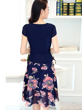 Ruffled Collar Floral Print Double-Layer Day Dress