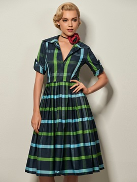 Vertical Striped Lapel Short Sleeve Day Dress