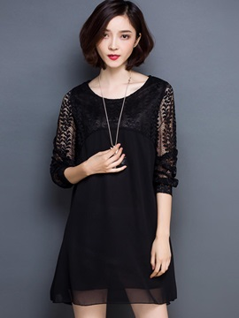 Solid 3/4 Sleeve Lace Patchwork Day Dress
