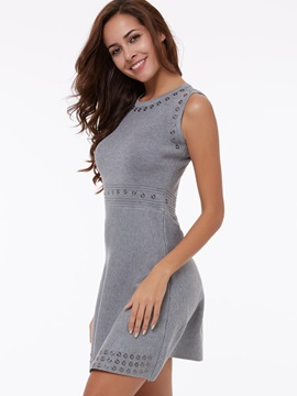 Round Neck Sleeveless A-Line Day Dress