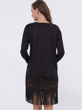 Solid Color Hollow Tassel Day Dress