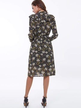 Floral print Turtleneck Long Sleeve Day Dress