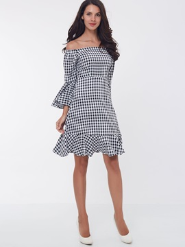 Plaid Off-the-Shoulder Flare Sleeve Mermaid Day Dress