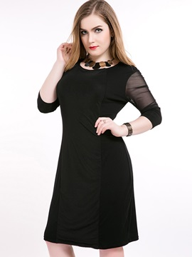 Solid Long Sleeve Patchwork Day Dress