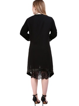 3/4 Sleeve Patchwork PU Day Dress